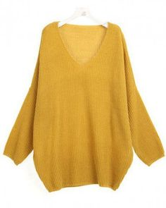 V-Neck Yellow long bat sleeve pullover Bat sleeves Pop style dd92500602 in Indressme  From indressme