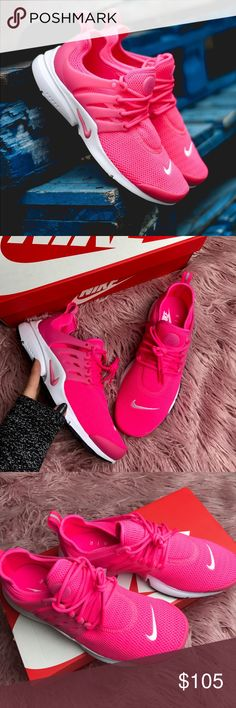 NWT Nike presto pink  Brand new,with box. Price is firm!no trades!Crisp, clean and ready for the streets, a retro-futuristic runner boasts a breathable stretch-mesh upper, vibrant color and a signature molded TPU support cage. Even after 15 years, the Nike Air Presto is still turning heads. Lace-up style Removable insole Stretch-mesh upper TPU support cage Mixed treads Mesh and synthetic upper/mesh lining/rubber sole Nike Shoes Sneakers