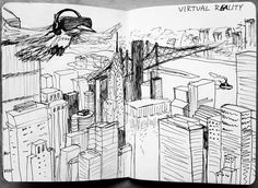 An awesome Virtual Reality pic! Virtual reality: flying above Manhattan #virtual #virtualreality #eagle #eagles #manhattan #skyline #skyscrapers #ink #flying #sbp #sbpprocess #sketchbookproject #queens #momi #museumofmovingimages #birdly by konstklara check us out: http://bit.ly/1KyLetq