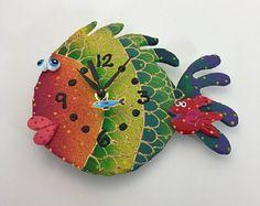 Los niños reloj de pared, reloj de pared del cuarto de niños, océano, debajo del mar, acuario, playa reloj, reloj de pared de peces de arcilla, reloj único, hecho a mano