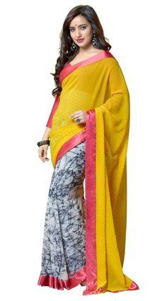 Neha sharma Yellow Colour Georgette Designer Party Wear Saree Buy Apparel