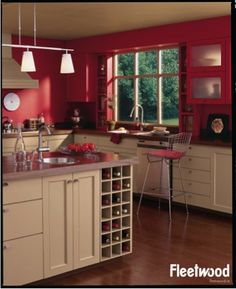 Kitchen painted in Valentine's Day red, from the Fleetwood Paints Popular Colours range.
