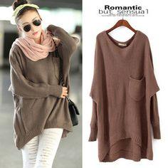 Brown Loose Long Sweater