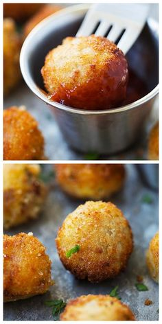 Mashed Potato Balls - crispy fried mashed potato balls loaded with bacon and cheddar cheese. The best recipe to use up leftover mashed potatoes. potato al horno asadas fritas recetas diet diet plan diet recipes recipes Mashed Potato Recipes, Potato Dishes, Fried Mashed Potatoes, Potato Snacks, Queso Cheddar, Cheddar Cheese, Good Food, Yummy Food, Delicious Recipes