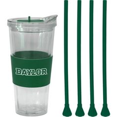 22oz Ncaa Baylor Bears Straw Tumbler with 4 Colored Replacement Propeller Straws, Multicolor