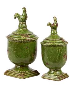 Take a look at this Green Rooster Jar Set by Urban Trends Collection on #zulily today!