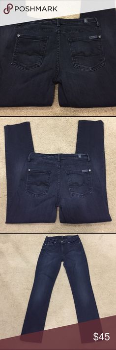 """🌹 7FAM midrise straight leg dark blue jeans sz 29 🌹 7FAM midrise straight leg dark blue jeans sz 29. Stunning jeans with a very dark blue denim and gunmetal rivets. Classic 7 stitching on back pockets. Preloved in excellent condition. Rise 9"""". Inseam 29.5"""". Outseam 38"""". As measured by me. I love these jeans!!  ❤❤❤ 7 For All Mankind Jeans Straight Leg"""