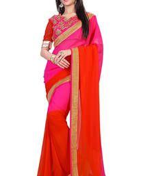 Buy Pink and Orange printed Georgette saree with blouse below-1500 online