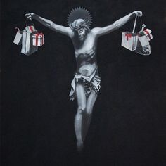 Image: Christ with Shopping Bags by Banksy is an example of how the artist explores street art and graffiti art to make statements about salient issues. Banksy Graffiti, Street Art Banksy, Arte Banksy, Bansky, Art Quotidien, Religion, Street Artists, Urban Art, New Art
