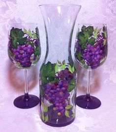 Grape+Wine+Glass+Set+by+thepaintedflower+on+Etsy,+$65.00