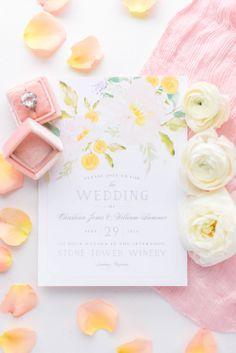 Pink and yellow color scheme perfect for any spring wedding! Customize yours today with over 180 color choices and more.