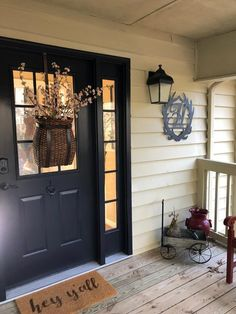 42 Easy And Simple Spring Front Porch Decoration Ideas - rustic farmhouse front door Front Door Entrance, House Front Door, House With Porch, Entry Doors, Exterior Doors, Front Door Design, Entrance Design, Front Door Colors, Black Front Doors