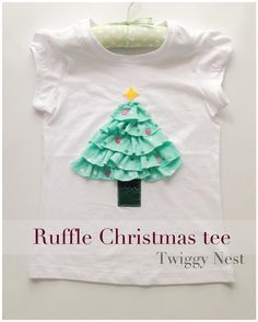 Ruffle Christmas Tree Top for a Toddler (well, one might just pick a bigger sized T-Shirt and Mum has a Tree Top as well)