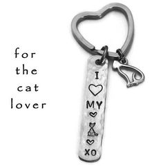 Stamped Cat Key Chain I Love My Cat Hand by TheSilverwearShop