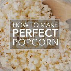 How to make a perfect batch of popcorn, with no burnt kernels! How To Make Popcorn, Food To Make, How To Pop Corn, Appetizer Recipes, Snack Recipes, Cooking Recipes, Appetizers, Popcorn Stovetop, Gastronomia