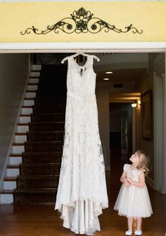 Flower Girl Portrait with Bridal Wedding Gown at Tampa Wedding Venue Casa Lantana