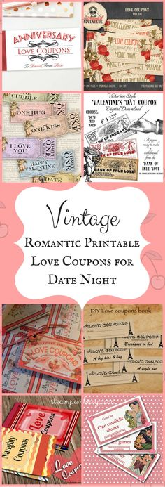 Vintage Romantic Printable Love Coupons for Date Night