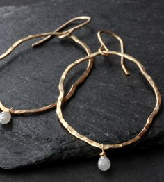 RAW DIAMOND GOLD HOOP EARRINGS by Alexis Russell on Scoutmob Shoppe.