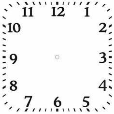 Square Clock Face Templates Free for kids