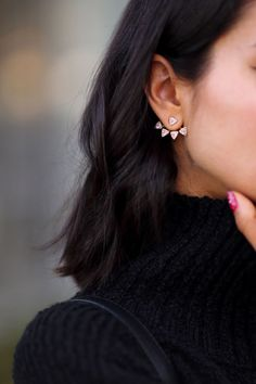 Update your jewelry look with a set of sparkly ear jackets! Wear the stud separately, or the front and back pieces together - we can't get enough of these pieces! Throw your hair into a messy bun or top knot and let those earrings steal the show! How would you wear this jewelry trend?