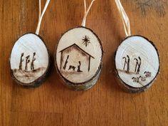 Nativity Birch Wood-Burned Ornaments set of 3 by BirchWoodBurns