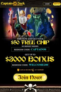 Signup at Captain Jack online casino. $50 FREE Chip NO DEPOSIT Mobile and Instant Play for new players. Captain Jack Casino has a no deposit free chip and a deposit code on there games. To grab this treasure of a bonus all you need to do is complete the registration process and use the bonus code Captain50. Best mobile slots and instant play games. $50 free chips at captain jack casino – no deposit welcome bonus on sign up bonus requirements: the $50 free chips bonus apply for all games. Best Online Casino, Online Casino Bonus, Best Casino, Free Slot Games, Free Slots, All Games, Games To Play, Money Games, Captain Jack