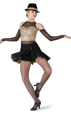 Gold sequin mesh over gold glam foil and black spandex shortie unitard with mesh…
