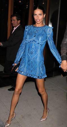 Adriana Lima wearing Emilio Pucci blue mini dress. #adrianalima