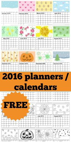 Are you looking for a 2016 calendar, or trying to get a 2016 planner. We have a lovely free one for you to print, where the kids can either colour in the designs, or you can print them out and hang them on the wall of your study. We have everything from flowers, to pumpkins decorating the 2016 calendar; something for you all. Get organised in 2016 for free!