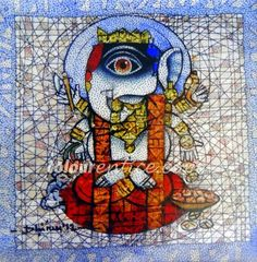 """""""Ganesh"""" one of the Best Collection of Artist Dhiren Sasmal   Medium: Pen and Ink on Acrylic on Canvas & Size: 48"""" X 48""""  #Art #Paintings #IndianArt #Artwork #Ganesh"""