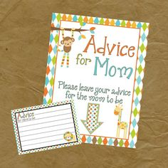 Jungle Baby Shower Game Advice For Mom Pack  by PokeysPrettyParties, $4.00
