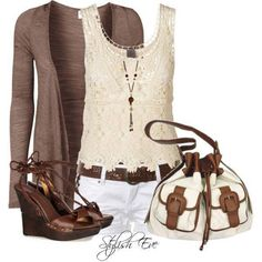 White shorts, brown belt, Ivory top, brown sandals