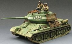 World War II Russian Army RA013 T34/85 Tank set - Made by King and Country Military Miniatures and Models. Factory made, hand assembled, painted and boxed in a padded decorative box. Excellent gift for the enthusiast.