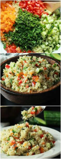 Quinoa Tabbouleh Salad an easy salad recipe thats done in 20 minutes filled with fresh mint and parsley fresh vegetables and lemon juice Light and low calorie perfect for. Easy Salad Recipes, Easy Salads, Easy Healthy Dinners, Easy Healthy Recipes, Quick Easy Meals, Vegan Recipes, Cooking Recipes, Tabuli Salad Recipe, Dishes Recipes