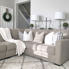 Farmhouse living room from Julie Warnock Interiors; modern farmhouse, farmhouse style Farmhouse living room from Julie Warnock Interiors; Modern Farmhouse Living Room Decor, Home Living Room, Apartment Living, Living Room Designs, Living Room Furniture, Farmhouse Style, Rustic Farmhouse, Modern Living, Living Area