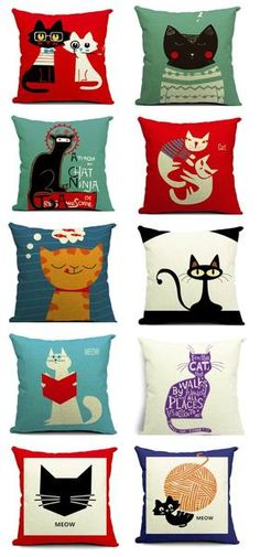 """No1 Selling Beautiful Linen Cat Print 18""""X18"""" Inches Cushion Pillow…"""