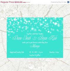 Opening SALE Stars wedding invitation SET mint Star by moonbokeh, $27.06