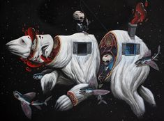 """Art by Veks Van Hillik. Nero Gallery presents group exhibition """"Creepy Christmas"""" - on our blog: http://www.ohsosurreal.com/2014/12/nero-gallery-presents-group-exhibition.html"""