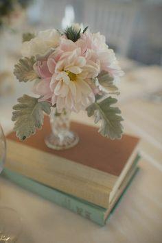 book centerpieces by cornelia super simple but elegant/vintage looking Wedding Flower Guide, Floral Wedding, Wedding Flowers, Wedding Flower Arrangements, Wedding Bouquets, Floral Arrangements, Book Centerpieces, Wedding Centerpieces, Centrepieces