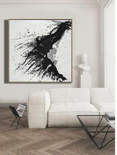 CZ ART DESIGN - Hand Painted Minimalist Drip Painting #MN323A, black, white, grey abstract painting canvas art.
