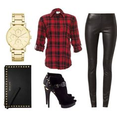 Perfectly Plaid || DKNY Gold Tone Chronograph Watch, Alice + Olivia Piper Plaid Shirt, Vancouvert Leather Trousers, Michael Kors Booties, Michael Kors Clutch