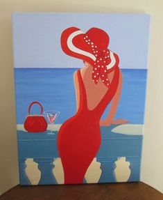 Original Art Painting Lady on balcony Red Dress, Handbag purse Hat cocktail on canvas 16 x 12 inches - art to paint dress vintage dress aesthetic dress Original Art, Original Paintings, Dress Painting, Art Deco Posters, Paint And Sip, Beach Art, Your Paintings, Painting Inspiration, Diy Art