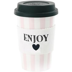 Miss Étoile Ceramic Travel Mug - Enjoy with Rose Stripes ($24) ❤ liked on Polyvore featuring home, kitchen & dining, drinkware, pink, dishwasher safe travel mug, ceramic travel cup, pink travel mug, ceramic cup and hot beverage cups