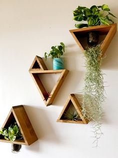 Triangle Wooden Mason Jar Planter - Home Decoration Styling Mason Jar Planter, Hanging Mason Jars, Diy Hanging, Hanging Succulents, Succulents Diy, Indoor Planters, Hanging Planters, Wall Of Plants Indoor, Indoor Living Wall