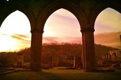 Sunset at Rievaulx Abbey.