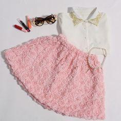 Solteiras Noivas Casadas: ROMWE Faux Roses Embellished Pink Skirt