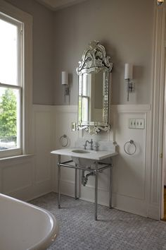 Bockman and Forbes Design - bathrooms - wainscoting, wainscoting paneled walls, paneled walls, bathroom wainscoting, gray walls, gray wall c...