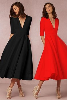 Chicloth Half Sleeve Midi Party Dress A-line V Neck - Party Dresses and Party Outfits Sexy Dresses, Party Dresses, Evening Dresses, Casual Dresses, Short Dresses, Wedding Dresses, Dress For Party, Office Party Dress, Cheap Dresses Online