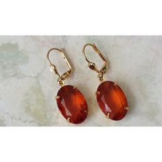 Red Topaz Rhinestone Earrings Gold Drop Earrings Art Deco Crystal... ($19) ❤ liked on Polyvore featuring jewelry, earrings, yellow gold drop earrings, gold art deco earrings, crystal earrings, red drop earrings and gold crystal earrings