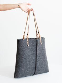 Resultado de imagen de felt and leather tote